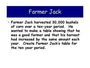 Farmer Jack Farmer Jack harvested 30 000 bushels