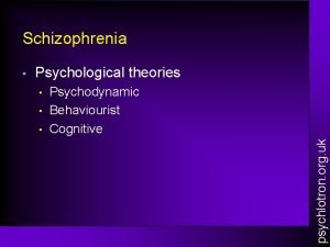 Schizophrenia Psychological theories Psychodynamic Behaviourist Cognitive psychlotron org