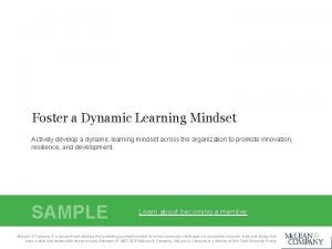 Foster a Dynamic Learning Mindset Actively develop a