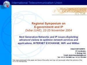 International Telecommunication Union Regional Symposium on Egovernment and