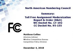 North American Numbering Council Summary Toll Free Assignment