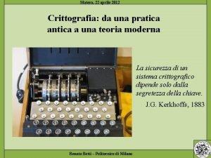 Crittografia da una pratica antica a una teoria