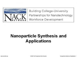 Nanoparticle Synthesis and Applications www nano 4 me