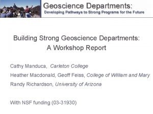 Building Strong Geoscience Departments A Workshop Report Cathy