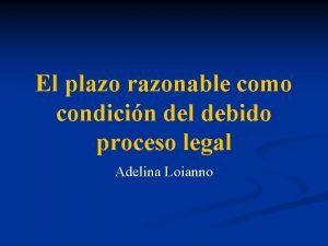 El plazo razonable como condicin del debido proceso