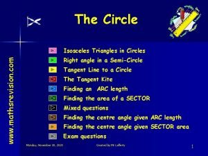 The Circle www mathsrevision com Isosceles Triangles in