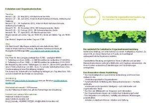 Eckdaten und Organisatorisches Termine Modul 1 20 23