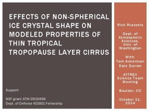 EFFECTS OF NONSPHERICAL ICE CRYSTAL SHAPE ON MODELED