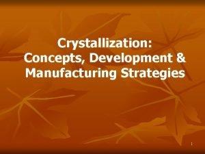 Crystallization Concepts Development Manufacturing Strategies 1 Agenda Crystallization