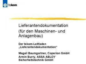 Lieferantendokumentation fr den Maschinen und Anlagenbau Der tekomLeitfaden