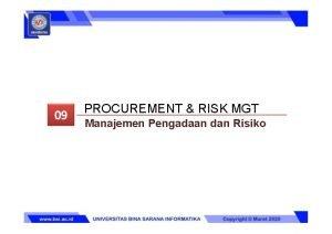 PROCUREMENT RISK MGT Manajemen Pengadaan dan Risiko Manajemen