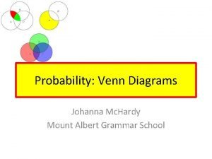 Probability Venn Diagrams Johanna Mc Hardy Mount Albert