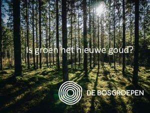 Is groen het nieuwe goud Groen voor de