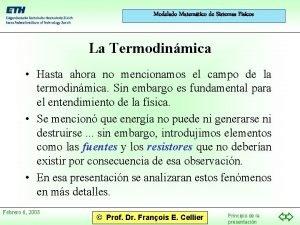 Modelado Matemtico de Sistemas Fsicos La Termodinmica Hasta