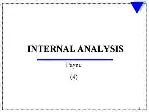 INTERNAL ANALYSIS Payne 4 1 Components of Internal