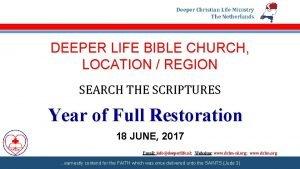 Deeper Christian Life Ministry The Netherlands DEEPER LIFE