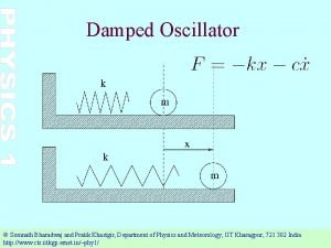 Damped Oscillator Somnath Bharadwaj and Pratik Khastgir Department