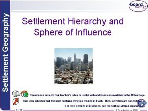 Settlement Geography Settlement Hierarchy and Sphere of Influence