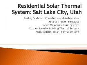 Residential Solar Thermal System Salt Lake City Utah