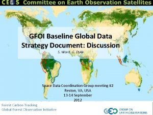 GFOI Baseline Global Data Strategy Document Discussion S
