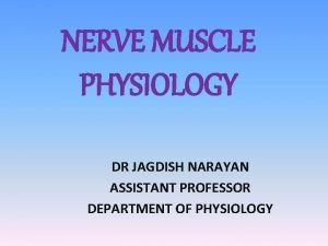 NERVE MUSCLE PHYSIOLOGY DR JAGDISH NARAYAN ASSISTANT PROFESSOR
