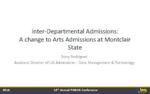 InterDepartmental Admissions A change to Arts Admissions at