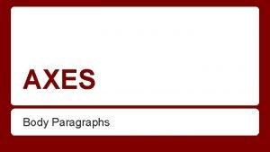 AXES Body Paragraphs AXES stands for Assertion e
