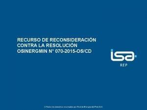 RECURSO DE RECONSIDERACIN CONTRA LA RESOLUCIN OSINERGMIN N