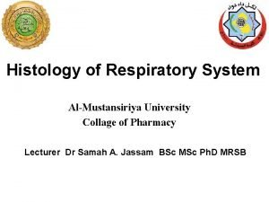 Histology of Respiratory System AlMustansiriya University Collage of