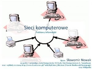 Sieci komputerowe Podstawy Informatyki Sawomir Nowak Oprac na