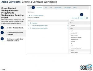 Ariba Contracts Create a Contract Workspace Create Contract