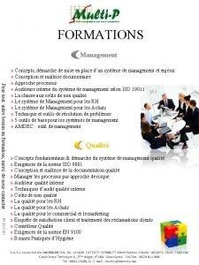 FORMATIONS Management Pour tout autre besoin en formation
