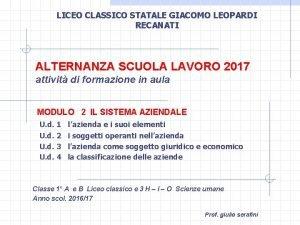 LICEO CLASSICO STATALE GIACOMO LEOPARDI RECANATI ALTERNANZA SCUOLA