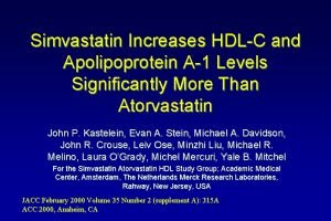 Simvastatin Increases HDLC and Apolipoprotein A1 Levels Significantly