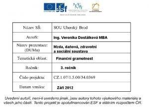 Ing Veronika Dostlkov MBA Mzda daov zdravotn a