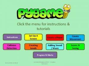 Click the menu for instructions tutorials Instructions Set