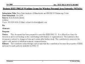 Oct 2009 doc IEEE 802 15 09 0711