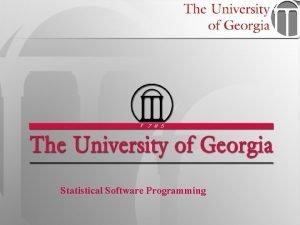 Statistical Software Programming 1 STAT 6360 Statistical Software
