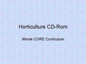 Horticulture CDRom Illinois CORE Curriculum Unit C Nursery