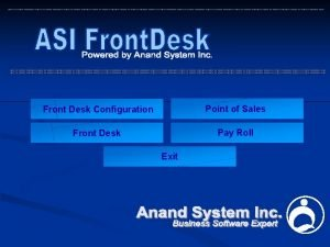 Front Desk Configuration Point of Sales Front Desk
