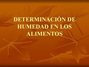 DETERMINACIN DE HUMEDAD EN LOS ALIMENTOS DETERMINACIN DE