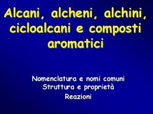 Alcani alcheni alchini cicloalcani e composti aromatici Nomenclatura