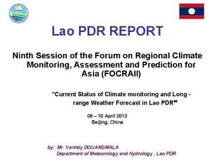 Lao PDR REPORT Ninth Session of the Forum