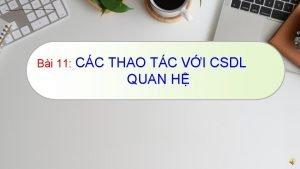 Bi 11 CC THAO TC VI CSDL QUAN