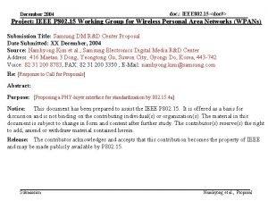 December 2004 doc IEEE 802 15 doc Project