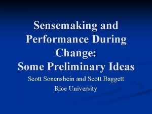 Sensemaking and Performance During Change Some Preliminary Ideas