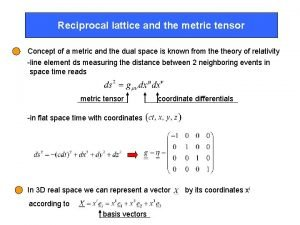 Reciprocal lattice and the metric tensor Concept of