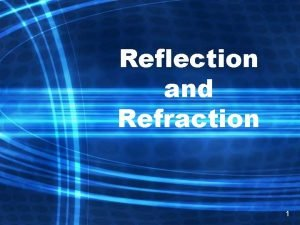 Reflection and Refraction 1 Reflection Reflection is when
