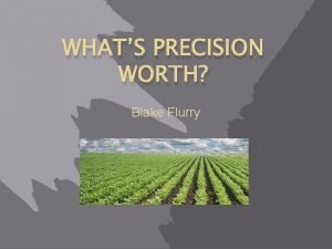 WHATS PRECISION WORTH Blake Flurry Whats Precision Worth