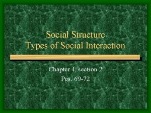 Social Structure Types of Social Interaction Chapter 4
